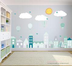 City Wall Decals, Wall Stickers pépinière, décalque de mur de bébé, Kids Wall Decals, Wall Decal pépinière, pépinière Wall Decal, amovible et réutilisable