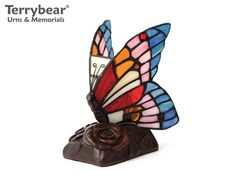 Terrybear Blue Butterfly Keepsake Lamp. This Keepsake can hold a small amount of cremated remains.