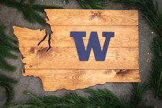 University of Washington wood sign by Larkin's Woodshop!
