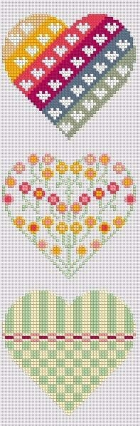 """Cross stitch hearts - template for CHD heart warriors perhaps"", ""Maybe these gorgeous hearts are also to use for tapistry crochet."", ""Hearts in p Cross Stitching, Cross Stitch Embroidery, Embroidery Patterns, Hand Embroidery, Cross Stitch Designs, Cross Stitch Patterns, Diy Laine, Cross Stitch Heart, Crochet Cross"