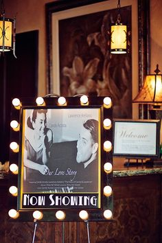 """cinema JOOLA MiniPong Table Tennis Table Movie inspired, """"Our Love Story"""" sign greets guests Movie Theater Wedding, Cinema Wedding, Wedding Movies, Gatsby Wedding, Dream Wedding, Quirky Wedding, Wedding Lace, Wedding Ceremony, Reception"""
