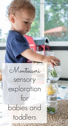 Sensorial exploration for Montessori babies and toddlers - simple things to do at home to allow for sensory play and exploration Toddler Classroom, Montessori Classroom, Montessori Toddler, Montessori Activities, Infant Activities, Montessori Homeschool, Homeschooling, Montessori Theory, Summer Activities
