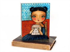 My House - An Original Whimsical Mixed Media Collage Painting On Wood - A Girl And Her White Cozy Home By Danita Art (6x8 Inches)