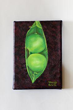 2 peas in a pod  5X7 oil    artist Wendy Ervin