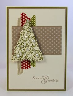 washi tape background with christmas tree die and pearl embellishments on square card
