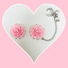 Pink rose plugs with ear cuff by AccentAria on Etsy, $25.00 I WANT THESE SO BAD!!!!!!