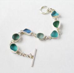 Blue Sea Glass Bracelet by BeckyMorgans on Etsy https://www.etsy.com/listing/221187994/blue-sea-glass-bracelet