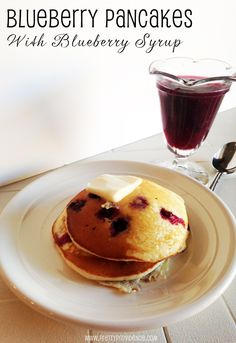 Delicious blueberry pancakes with blueberry syrup!