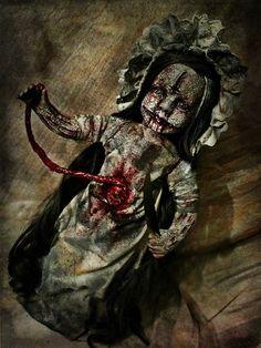 Ooak handmade horror art creepy Devil Doll with knife