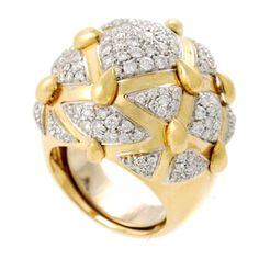 DAVID WEBB Gold & Platinum Diamond Dome Ring . Circa 1970s