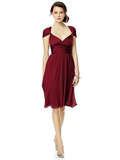 Twist Wrap Dress w/ Chiffon Overskirt: Short: The Dessy Group