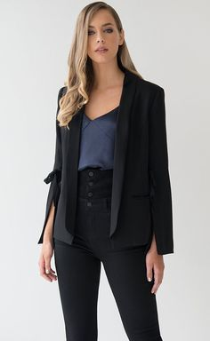 Premium Split Sleeve Blazer | The Premium Split Sleeve Blazer is the ultimate in new season power dressing. This piece is the ideal feminine and contemporary cover up to elevate your evening wardrobe. Power Dressing, Buy Dress, Cover Up, Feminine, Blazer, Contemporary, Sleeves, Pants, Jackets