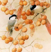CHICKADEE BIRDS,BITTERSWEET BERRIES,THANKSGIVING,MARJOLEIN BASTIN GREETING CARD