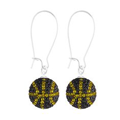 Handcrafted Jet-Citrine (Black-Yellow) Basketball Earrings with Silver Wire, Item E-BB25, Price:  $35.99, © GameDay Fusion