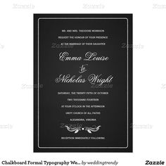 "Chalkboard Formal Typography Wedding Invitations 5"" X 7"" Invitation Card"