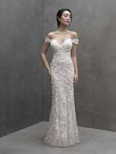 Touchable fabric blossoms lend texture and airiness to this off-shoulder sheath wedding dress from Madison James Classy Wedding Dress, Wedding Dress Styles, Wedding Party Dresses, Bridesmaid Dresses, Wedding Frocks, Traditional Wedding Dresses, Bridal And Formal, Sophisticated Bride, Formal Gowns