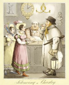 Silencing a Charley: 1822 (The 'charley' is slang for a night watchman, here being silenced by being bribed by a couple of hookers. Museum of London