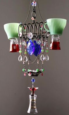 Vintage glassware recycled into chandelier
