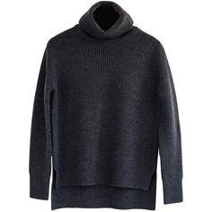 Ille De Coco - Merino Roll Neck Rib Sweater Dark Grey (7 200 UAH) ❤ liked on Polyvore featuring tops, sweaters, merino sweater, slimming tops, ribbed top, ribbed sweater y dark grey sweater