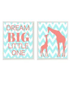 Giraffe Nursery Wall Art Print - Dream Big Little One Quote - Coral Aqua Chervon  - Mom Baby Giraffes Modern Baby Girl Room Home Decor  8x10