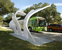 Gimme Shelter: Orlando-area bus stops get theme park treatment Architecture Details, Landscape Architecture, Landscape Design, Urban Furniture, Street Furniture, Bus Stop Design, Bus Stand, Bus Shelters, Street Art