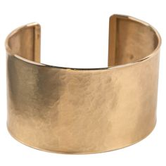 Handmade Pounded Gold Cuff Bracelet Presented by Jewelry and Such | From a unique collection of vintage cuff bracelets at http://www.1stdibs.com/jewelry/bracelets/cuff-bracelets/