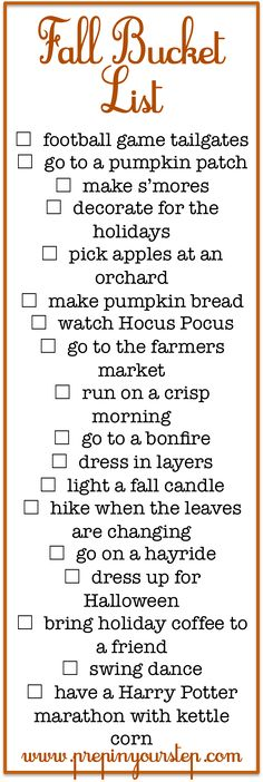 Prep In Your Step: Fall Bucket List Fun Fall Activities halloween bucketlist