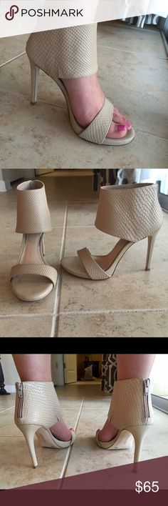 NWT Gianni Bini cream ankle cuff heels Never worn. Size 8. Sexy heels for sure! 4 inch heel ☺️ Gianni Bini Shoes Heels