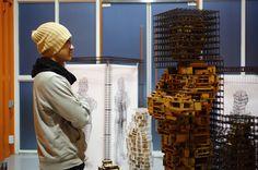 art,sculpture,wood,steel,installation,architecture,pixel,cube