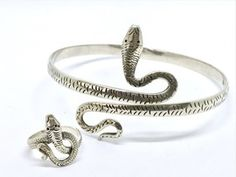 Sterling Silver Snake Bangle and Ring Set