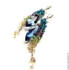 """Купить Серьги """"Отражение неба"""" - синий, топаз, серьги с самоцветами, Серьги-грозди, удлиненные серьги"""
