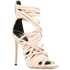 Giuseppe Zanotti Design 'Runway' sandals (€1.070) ❤ liked on Polyvore featuring shoes, sandals, high heel stilettos, leather shoes, beige sandals, giuseppe zanotti sandals and leather sandals