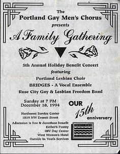 Portland Gay Men's Chorus event flyer, 1994, Courtesy Oreg. Hist. Soc. Research Library, GLAPN Coll., Mss2988-1 (This Month in Oregon History, June 2017)