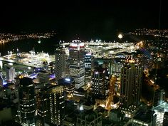 Auckland city,  New Zealand at night. Maybe it's time for that trip.......