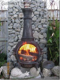 gabion backdrop to outdoor fireplace http://www.gabion1.com