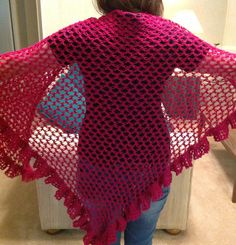 New Berry Color Light Weight Shawl Hand Crochet by YarnQueens