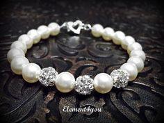Bridesmaid bracelet, Swarovski pearls, Wedding jewelry, Silver balls, Heart clasp, Bridal party gift, Ivory pink grey black purple pearls.. $25.00, via Etsy.