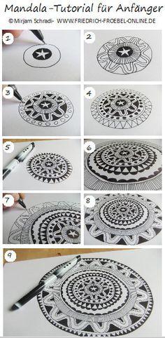 Mandala Tutorial for Beginner - Anleitung zum Mandala malen - Anleitung, wie du Schritt für Schritt freiand ohne Zirkel und Lineal nur mit einem schwarzen Fineliner (Marke: Pilot) Kreis für Kreis ein Mandala malen kannst - Viel Spass!