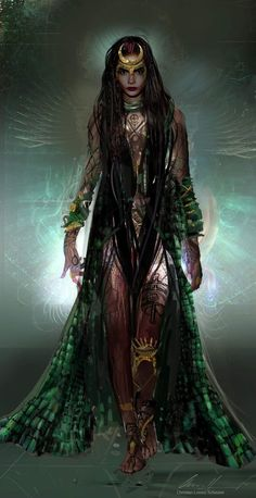 Suicide Squad Concept Art by Christian Lorenz Scheurer - Cara Delevingne as Enchantress - 1 Foto Fantasy, Dark Fantasy Art, Fantasy Artwork, Fantasy Women, Fantasy Girl, Fantasy Characters, Female Characters, Medieval Combat, Arte Obscura