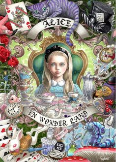 "Art Nouveau style Alice from ""Alice in Wonderland"" by Japanese illustrator Ꭲ Ꭺ Ꮶ Ꮜ Ꮇ Ꮠ ™ Lewis Carroll, Art Disney, Disney Kunst, Go Ask Alice, Chesire Cat, Arte Sketchbook, Alice Madness, Adventures In Wonderland, Wonderland Party"