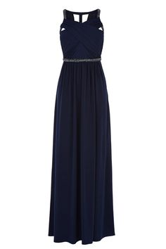 A graceful floorsweeping maxi dress tailored to fall fluidly down the body. The Cosmopolitan Maxi Dress is a fine example of how to effortless wear the coveted goddess style. With its cross over detail at the bust this beautiful piece is carefully embellished with crystals at the waist and shoulders for that shimmer after dark