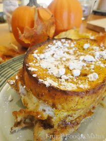 Frugal Foodie Mama: Overnight Pumpkin Pie Chai French Toast  I thought this would be appropriate for Halloween breakfast. And I had some pumpkin I needed to use up! I left out the chai (didn't have any) and didn't have thick bread. It was pretty tasty, but if I were to do it again I'd cut the bread in cubes and do it more in a bread pudding kind of style. I think it be easier to get a better/more even coating on all bread pieces.