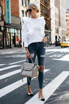 White Ruffle Shirt Topshop Denim Ripped Skinny Jeans and Chanel Slingbacks