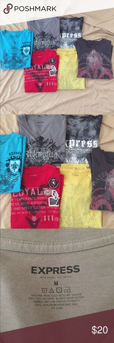 6 new and used Express men's tshirt Out of the 6 tshirts 4 are new and never worn. 2 have been worn once or twice. Size medium, smoke/pet free. More pictures upon request! Express Shirts Tees - Short Sleeve