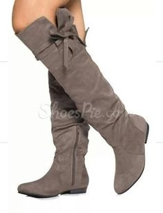 #Comfortable Flat Heel Coppy Leather Knee High #Boots with #Bowtie