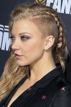 At Comic-Con 2014, the Game of Thrones star accented a trendy undercut with a detailed braid and sideswept waves.