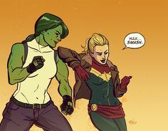April She-Hulk (Jennifer Walters) and Captain Marvel (Carol Danvers) of Marvel Comics. Just for fun. I don't know what's about to get smashed, but feel bad for it! Marvel Comics, Ms Marvel, Marvel Heroes, Marvel Avengers, Comic Book Characters, Marvel Characters, Comic Books Art, Comic Art, Miss Hulk