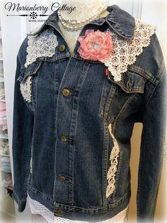 $59.00 USD Embellished demin jean jacket Vintage Lace by PrairieFarmGoods2