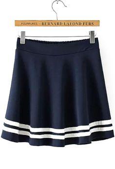 Elastic Waist Striped Navy Skirt 12.67