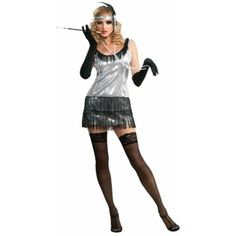 As women became more liberated they threw off their girdles and petticoats in favor of flapper dresses and the world was changed. This sexy ensemble has a peppy silver sheen with darker tassles that t